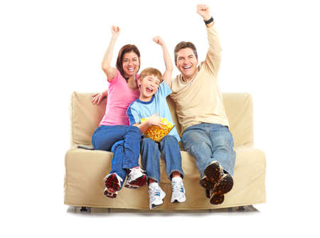 Happy family. Father, mother and boy. Over white background Stock Photo - 6352917