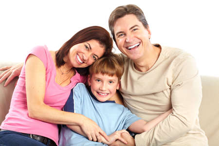 행복한 가족. 아버지, 어머니, 소년입니다. 흰색 배경 위에