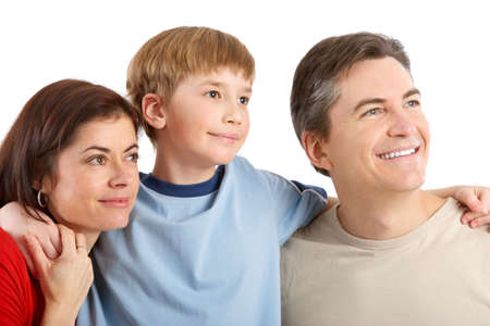 Happy family. Father, mother and boy. Over white background Stock Photo - 6352908