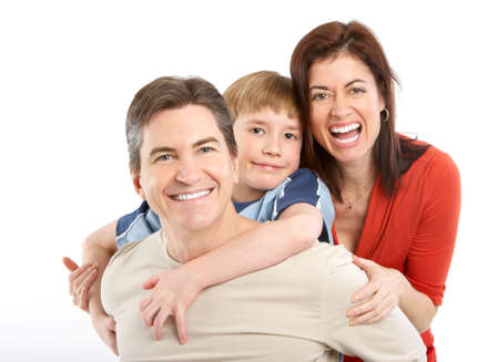 Happy family. Father, mother and boy. Over white background Stock Photo - 6352794