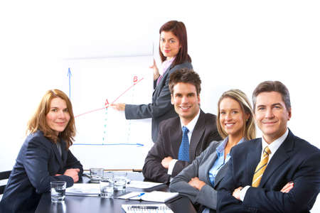 Smiling business people team working in the office Stock Photo - 6352811