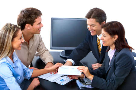 happy client: Smiling business people team working in the office
