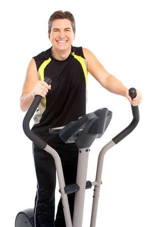 muscularity: Smiling mature strong man working out. Isolated over white background