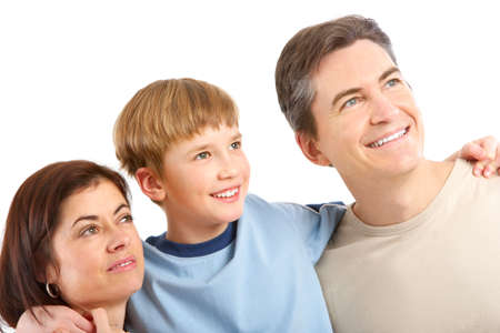Happy family. Father, mother and boy. Over white background Stock Photo - 6353228