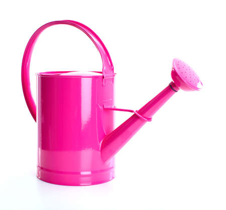 Red watering can. Isolated over white background 스톡 콘텐츠
