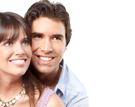Happy smiling couple in love. Over white background Stock Photo - 6387304