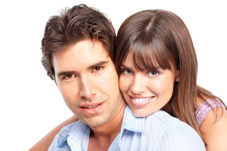 Happy smiling couple in love. Over white background Stock Photo - 6387313