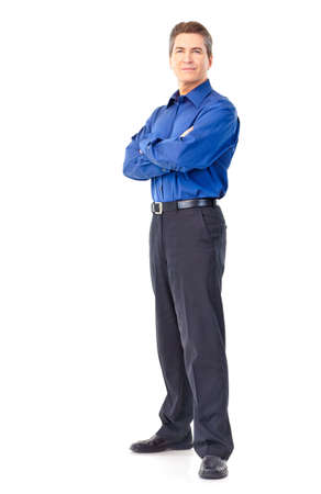 blue shirt: Smiling handsome businessman. Isolated over white background