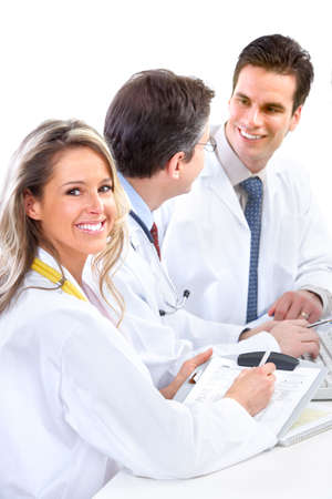 Smiling medical doctors with stethoscopes. Isolated over white background Stock Photo - 6387228