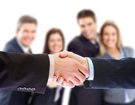 businessmen handshake: Business people. Handshake of businessmen. Over white background  Stock Photo