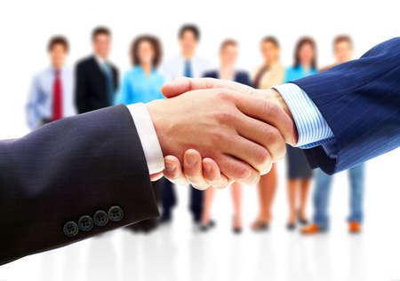 shake hands: Business people. Handshake of businessman. Isolated over white background