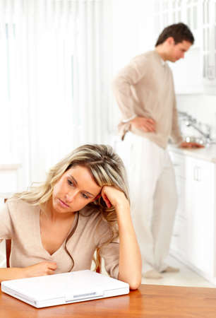 women fighting: Angry couple at home.  Stock Photo