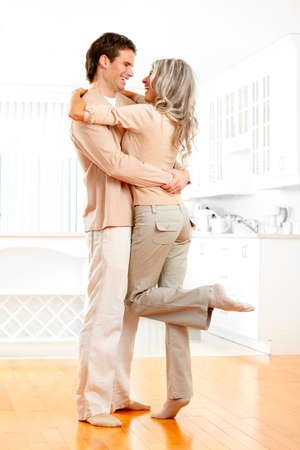 the modern: Young smiling couple at modern home Stock Photo