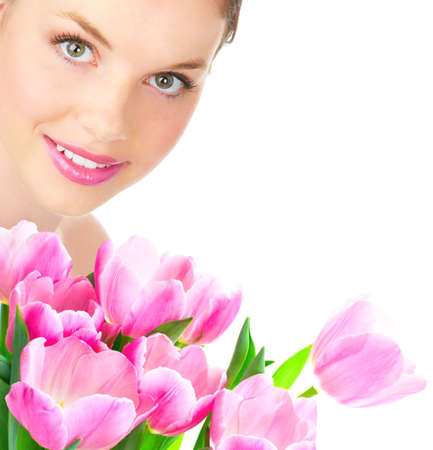 Beautiful young smiling woman with flower.  Isolated over white  background  photo