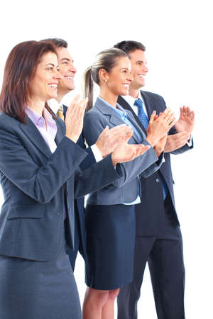 Smiling business people team working in the office Stock Photo - 6423954