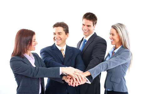 Smiling business people team working in the office Stock Photo - 6424073