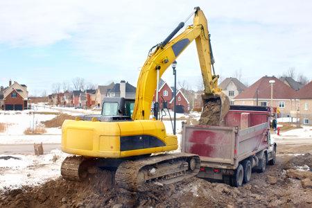 Yellow excavator, construction. Stock Photo - 6424039