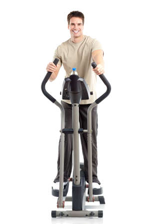 exercitation: Smiling mature strong man working out. Isolated over white background  Stock Photo