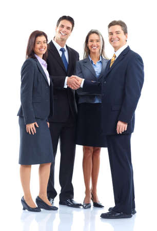Young smiling  business women and businessmen. Over white background Stock Photo - 6424000