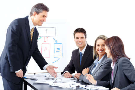 Smiling business people team working in the office Stock Photo - 6423982