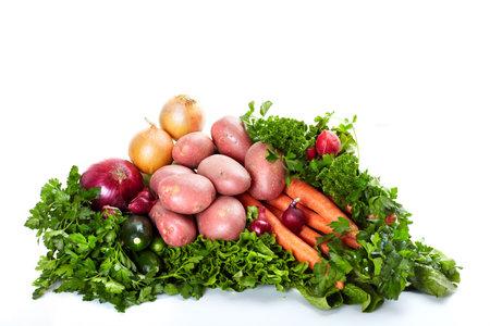 Fresh vegetables. Isolated over white background photo