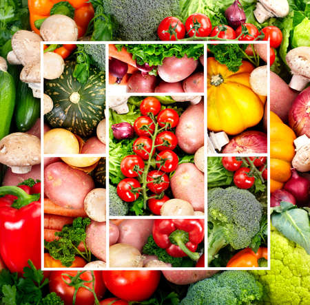 spud: Fresh fruits and vegetables. Close up