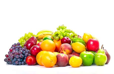 Fresh tropical fruits: banana, orange, apple, grape, peach, lemon, lime. Isolated over white background