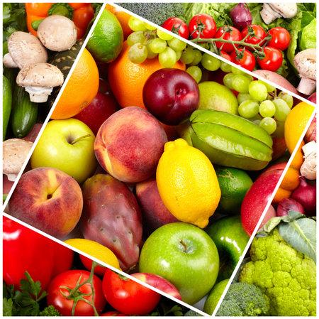 Fresh tropical fruits: banana, orange, apple, grape, peach, lemon, lime. Isolated over white background  photo