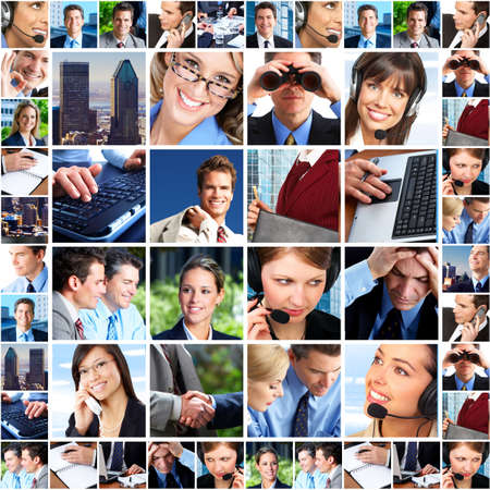 phone service: Business people. Business team. Teamwork Stock Photo