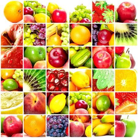 Fresh fruits: banana, orange, apple, grape, peach, lemon, lime, strawberry, kiwi photo