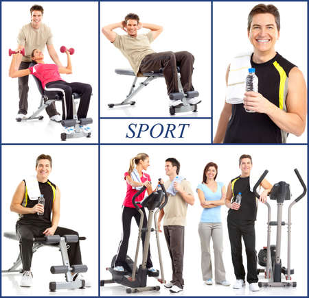 svelte: Smiling mature strong man and women working out. Isolated over white background