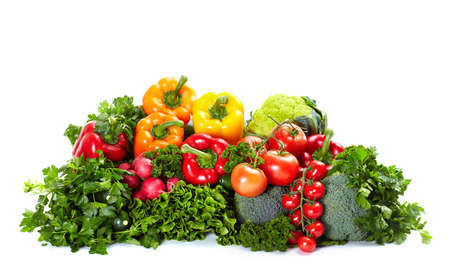Fresh vegetables. Isolated over white background