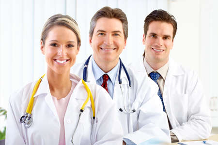 medical doctors: Smiling medical doctors with stethoscopes.