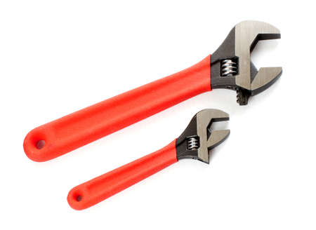Set of tolls. Adjustable wrench. Isolated over white background  photo
