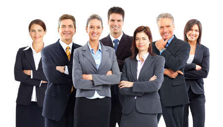 happy business team: Group of business people team. Isolated over white background  Stock Photo