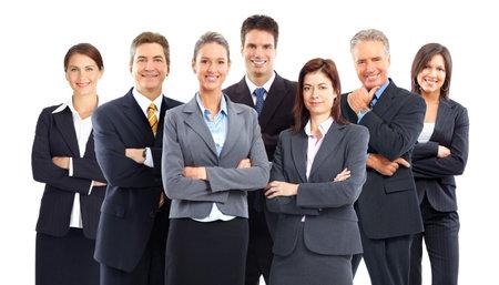 trabajo de equipo: Grupo de equipo de personas de negocios. Aislados sobre fondo blanco