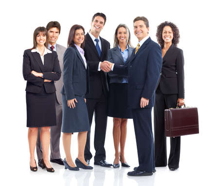 Young smiling  business women and businessmen. Over white background Stock Photo - 6459128