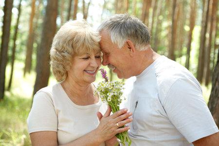 Happy elderly seniors couple in park Stock Photo - 6509728