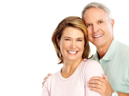 dental smile: Happy senoir couple in love. Isolated over white background  Stock Photo