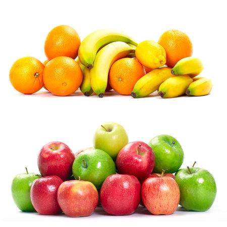 Fresh fruits banana , apple and orange. Isolated over white background
