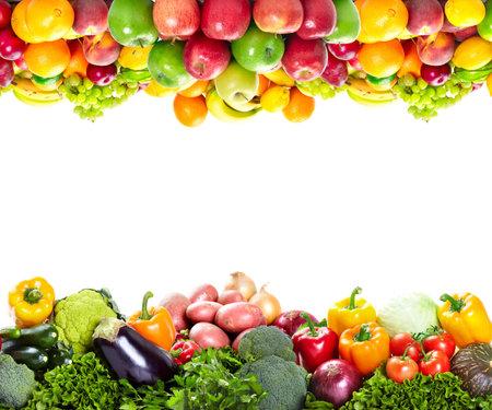 strawberry: Fresh fruits: banana, orange, apple, grape, peach, lemon, lime, strawberry, kiwi, frame  Stock Photo