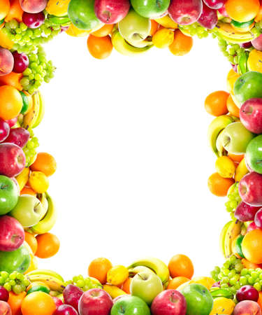 Fresh fruits: banana, orange, apple, grape, peach, lemon, lime, strawberry, kiwi, frame