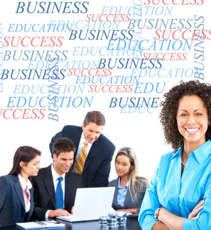 Smiling business people team working in the office with laptop Stock Photo - 6509793