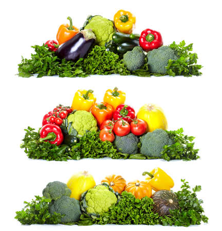 Fresh vegetables. Isolated over white background  Stock Photo