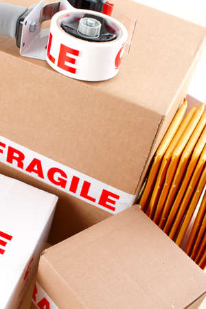 parsel: Fragile delivery service. Box, scotch tape, envelops