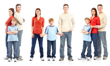 Happy family. Father, mother and boy over white background