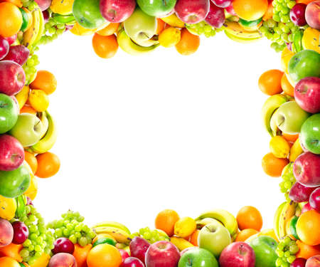 Fresh fruits: banana, orange, apple, grape, peach, lemon, lime, strawberry, kiwi, frame Stok Fotoğraf