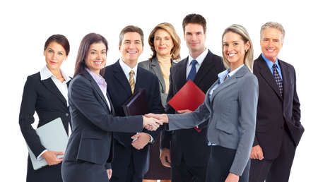 Young smiling  business women and businessmen. Over white background  photo