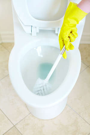 Modern flush toilet. Cleaning