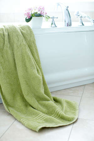 Modern bath and towel. Bathroom  photo